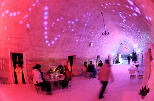 Tourists have dinner inside the Balea Lac Hotel of Ice in the Fagaras mountains
